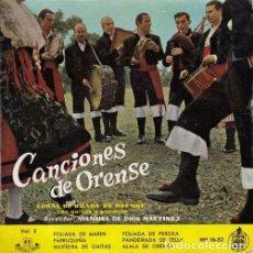 Discos de vinilo: CORAL DE RUADA DE ORENSE - CANCIONES DE ORENSE - EP DE VINILO FOLKLORE GALLEGO. Lote 290246883