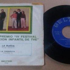 Discos de vinilo: SEGUNDO PREMIO IV FESTIVAL DE LA CANCION INFANTIL DE TVE / SINGLE 7 PULGADAS. Lote 290740843