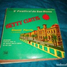 Discos de vinilo: BETTY CURTIS. 9º FESTIVAL SAN REMO. NESSUNO + 3. EP. HISPAVOX, 1959(#). Lote 291414763