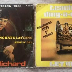 Discos de vinilo: 2 SINGLES CLIFF RICHARD/LET ME IN -EUROVISION 1968 Y 1975. Lote 291492968