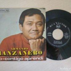 Discos de vinilo: ARMANDO MANZANERO - NO / CONTIGO APRENDI - SINGLE ESPAÑOL DE 1968 - BUEN ESTADO. Lote 293178503