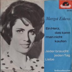 Discos de vinilo: MARGOT ESKENS//NO SE PUEDE COMPRAR UN CORAZÓN//SINGLE//MADE IN GERMANY//1962//POLYDOR. Lote 293190258