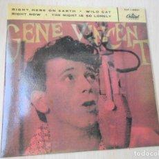 Discos de vinilo: GENE VINCENT, EP, RIGHT HERE ON EARTH + 3, AÑO 19?? REEDICION. Lote 293205703