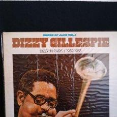 Discos de vinilo: LP DIZZY GILLESPIE - DIZZY IN PARIS / 1952-1953 (LP, COMP, RE), 1980 ESPAÑA, IMPECABLE. Lote 293215218