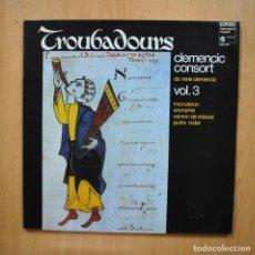 Discos de vinilo: CLEMENCIC CONSORT - TROUBADOURS - LP. Lote 293339038