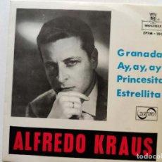 Discos de vinilo: ALFREDO KRAUS. GRANADA. AY, AY, AY. PRINCESITA. ESTRELLITA. SINGLE. ZAFIRO.. Lote 293416053