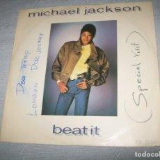 Discos de vinilo: MICHAEL JACKSON - BEAT IT - MAXISINGLE EPIC, 1982 - EDICION U.K - ORIGINAL CON RESEÑA Y FIRMADO.. Lote 293423098