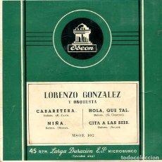 Discos de vinilo: LORENZO GONZALEZ / CABARETERA + 3 (EP ODEON 1959). Lote 293463743