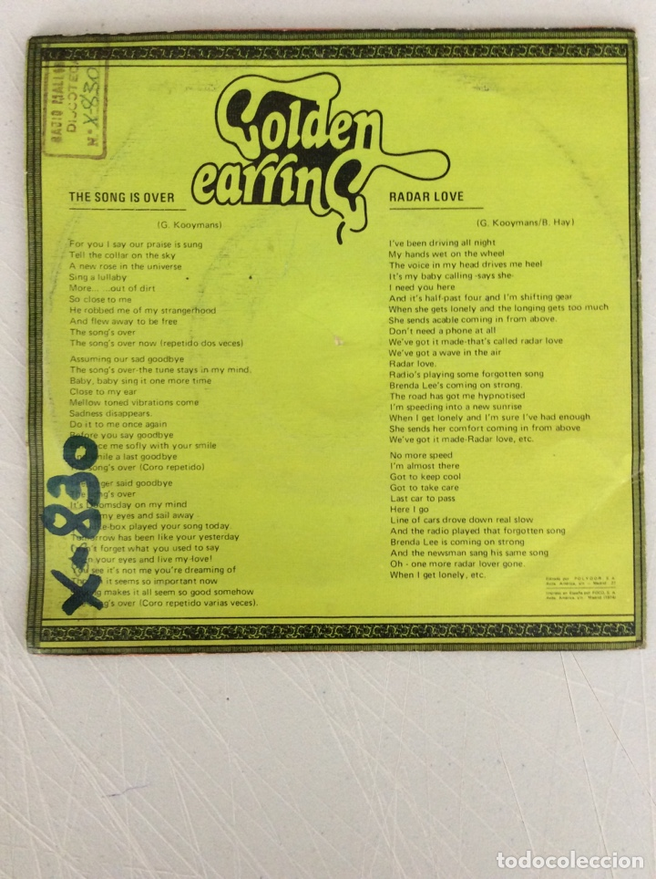 Discos de vinilo: Radar love. Golden earring. The song is over. - Foto 2 - 293544078