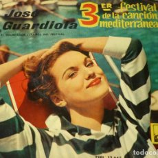 Discos de vinilo: JOSE GUARDIOLA - SINGLE 45 RPM III FESTIVAL CANCION MEDITERRANEA- 1961. Lote 293629528