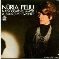Discos de vinilo: NURIA FELIU / NADA COMO EL AMOR / UN ADIOS, HOY ES IMPOSIBLE (SINGLE HISPAVOX 1969). Lote 293651998