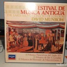Discos de vinilo: CAJA 3 LP´S VINILO + LIBRETO : FESTIVAL DE MUSICA ANTIGUA ( THE EARLY MUSIC CONSORT OF LONDON ). Lote 293757973