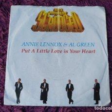"Discos de vinilo: ANNIE LENNOX & AL GREEN – PUT A LITTLE LOVE IN YOUR HEART,VINILO ,7"" SINGLE 1988 GERMANY 390 382-7. Lote 293758098"