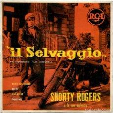 Discos de vinilo: SHORTY ROGERS E LA SUA ORCHESTRA - IL SELVAGGIO - EP ITALIA 1953 - RCA A72V 0002 - MARLON BRANDO. Lote 293815433