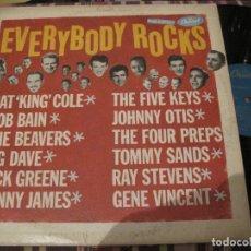 Discos de vinilo: LP EVERYBODY ROCKS CAPITOL 1025 USA 1958 GENE VINCENT JOHNNY OTIS FIVE KEYS TOMMY SANDS. Lote 293897108