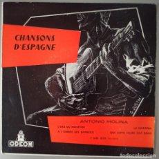 Discos de vinilo: CHANSONS D ESPAGNE ANTONIO MOLINA / IMPRESO EN FRANCIA. Lote 293929048