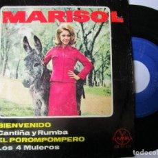 Discos de vinilo: DISCO HECHO EN MEXICO MARISOL BIENVENIDO , EL POROMPOMPERO , LOS 4 MULEROS , CANTIÑA Y RUMBA. Lote 293929168