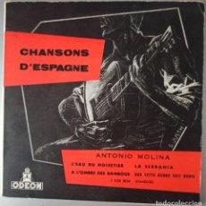 Discos de vinilo: CHANSONS D ESPAGNE ANTONIO MOLINA / IMPRESO EN FRANCIA. Lote 293930008