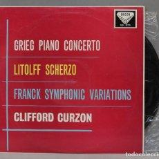 Discos de vinilo: LP. GRIEG. LITOLFF. FRANCK. CLIFFORD CURZON. PIANO CONCERTO. SCHERZO. SYMPHONIC VARIATIONS. Lote 293970468