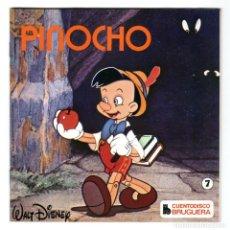 Discos de vinilo: CUENTODISCO BRUGUERA - Nº 7 - PINOCHO - WALT DISNEY - CUENTO + DISCO DE VINILO - HISPABOX - 1979. Lote 294052178
