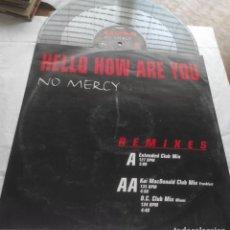 "Discos de vinilo: NO MERCY – HELLO HOW ARE YOU- GERMANY-1998- VINYL, 12"", PROMO, 33 ⅓ RPM. Lote 294058193"