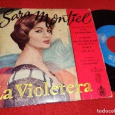 Discos de vinilo: SARA MONTIEL LA VIOLETERA BSO OST. VIOLETERA/BAJO LOS PUENTES DE PARIS/MIMOSA +1 EP HISPAVOX FRANCIA. Lote 294082318