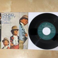 """Discos de vinilo: YOUNG SOCIETY - TRUENOS Y RAYOS (THUNDERSTORM) / ES LA GUERRA - SINGLE 7"""" SPAIN 1971 PROMO. Lote 294479818"""