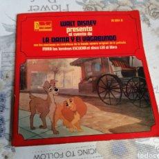Discos de vinilo: DISCO CUENTO INFANTIL WALT DISNEY PRESENTA, LA DAMA Y EL VAGABUNDO - EP DISNEYLAND. Lote 294501808
