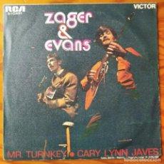 Discos de vinilo: ZAGER & EVANS - MR. TURKEY/ CARY LYNN JAVES - SINGLE 1969. Lote 294855598
