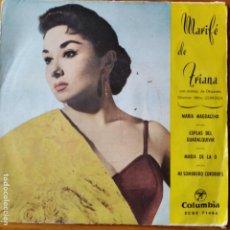 Discos de vinilo: MARIFE DE TRIANA -EP 1961- MARIA DE LA O/ COPLAS DEL GUADALQUIVIR/ MAGDALENA/ MI SOMBRERO CORDOBES. Lote 294859253