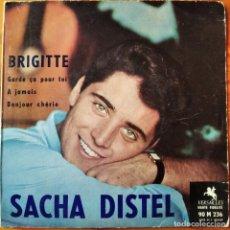 Discos de vinilo: SACHA DISTEL. BRIGITTE/ A JAMAIS/ BONJOUR CHERIE/ GARDEÇA POUR TOI. EP FRANCIA 1958. Lote 294863078