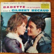 Discos de vinilo: GILBERT BÉCAUD – BABETTE S'EN VA-T-EN GUERRE. EP FRANCIA 1959. BSO. BABETTE SE VA A LA GUERRA. Lote 294863863