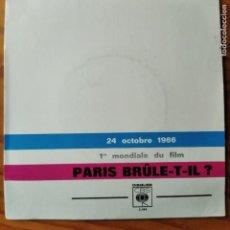 Discos de vinilo: BSO: PARIS BRULE-T-IL? PREMIERE 24 OCTOBRE 1966. TIRAGE LIMITÉ Nº 17.. Lote 294864983
