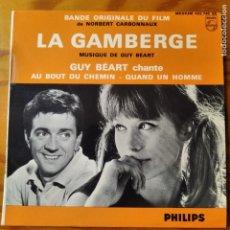 Discos de vinilo: BSO: LA GAMBERGE - GUY BEART CHANTE: AU BOUT DU CHEMIN/ QUAND UN HOMME - EP 1962 FRANCIA. Lote 294865688
