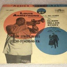 Discos de vinilo: SINGLE MUSICA Y LAGRIMAS LOUIS ARMSTRONG - BASIN STREET BLUES - OJOS NEGROS -PEDIDO MINIMO 7€. Lote 295046483