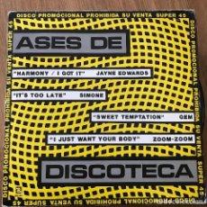 "Discos de vinilo: VV.AA. - ASES DE DISCOTECA - 12"" MAXISINGLE ZAFIRO 1984 - JAYNE EDWARDS, SIMONE, GEM, ZOOM-ZOOM. Lote 295307833"
