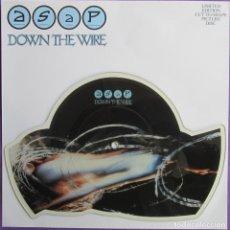Discos de vinilo: ASAP: DOWN THE WIRE / WHEN SHE´S GONE. ADRIAN SMITH (IRON MAIDEN). HARD ROCK U.K. FOTODISCO. Lote 295331278