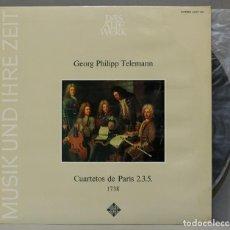 Discos de vinilo: LP. GEORG PHILIPP TELEMANN. CUARTETO AMSTERDAM. CUARTETOS DE PARÍS 2.3.5.. Lote 295376838