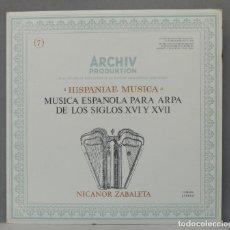 Discos de vinilo: LP. MUSICA ESPAÑOLA PARA ARTPA DE LOS SIGLO XVI Y XVII. ZABALETA. Lote 295376998