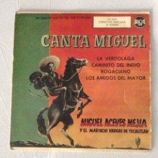 Discos de vinilo: MIGUEL ACEVES MEJIA. Y EL MARIACHI VARGAS DE TECALITLAN. LA VERDOLAGA. CAMINITO DEL INDIO. ROGACIANO. Lote 295400593