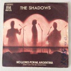 Discos de vinilo: THE SHADOWS. NO LLORES POR MI, ARGENTINA. DON'T CRY FOR ME, ARGENTINA. MONTEZUMA'S REVENGE. Lote 295416268