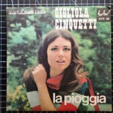 Discos de vinilo: GIGLIOLA CINQUETTI.LA PIOGGIA. SAN REMO 1960. Lote 295483563