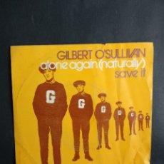 Discos de vinilo: GILBERT O'SULLIVAN, ALONE AGAIN, MAM, 1972. Lote 295505313