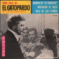 """Discos de vinilo: GRAN VALS DE """"EL GATOPARDO"""" DEL FILM DEL MISMO TITULO / EP BELTER 1965 / MUY BUEN ESTADO RF-5967. Lote 295532918"""