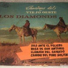 Discos de vinilo: EP LOS DIAMONDS CANCIONES DEL VIEJO OESTE - SOLO ANTE EL PELIGRO Y OTROS TEMAS -PEDIDO MINIMO 7€K. Lote 295544383