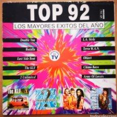 Discos de vinilo: TOP 92 - LOS MAYORES ÉXITOS DEL AÑO. Lote 295634253