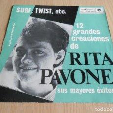 Discos de vinilo: RITA PAVONE - SURF, TWIST, ETC -, LP, CORAZON (CUORE) + 11, AÑO 1964. Lote 295688283