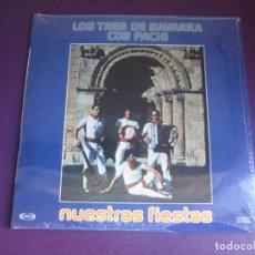 Discos de vinilo: LOS TRES DE NAVARRA CON PACHI - NUESTRAS FIESTAS - LP MOVIEPLAY 1978 PRECINTADO - FOLK NAVARRO TRADI. Lote 295696898