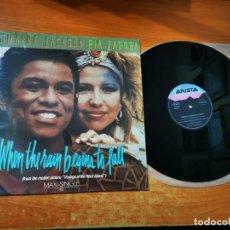 Discos de vinilo: JERMAINE JACKSON & PIA ZADORA WHEN THE RAIN BEGINS TO FALL MAXI SINGLE VINILO 1984 ESPAÑA 3 TEMAS. Lote 295700068
