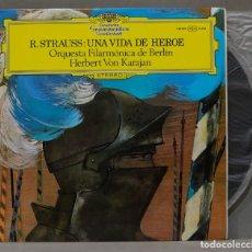 Discos de vinilo: LP. R. STRAUSS. ORQUESTA FILARMÓNICA DE BERLIN. HERBERT VON KARAJAN. UNA VIDA DE HEROE. Lote 295733038